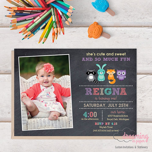 Woodland Animals Chalkboard Photo Birthday Invitation