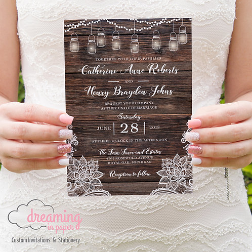 Rustic Lanterns, Lace and Wood Wedding Invitation Set