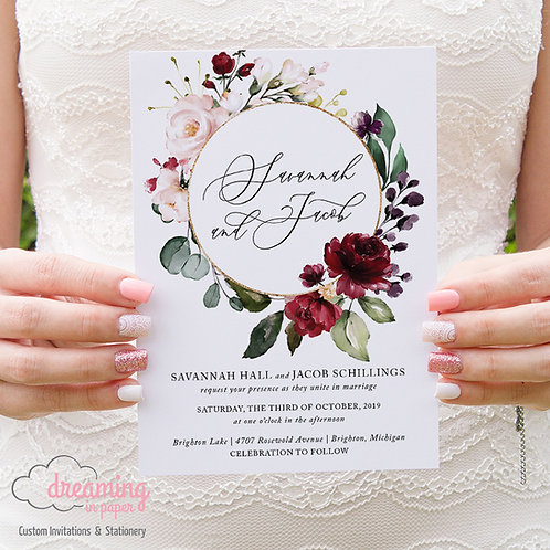 Chic Circle Burgundy Blush Floral Wedding Invitations 245