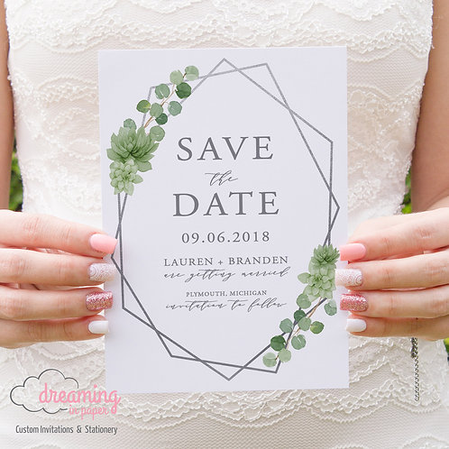 Geometric Greenery Succulents and Eucalyptus Save the Dates