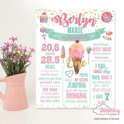Sweet One Birthday Milestone Chart