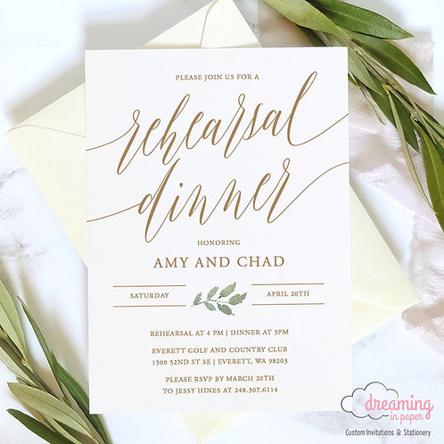 Golden Fitri Greenery Mod Rehearsal Dinner Invitation