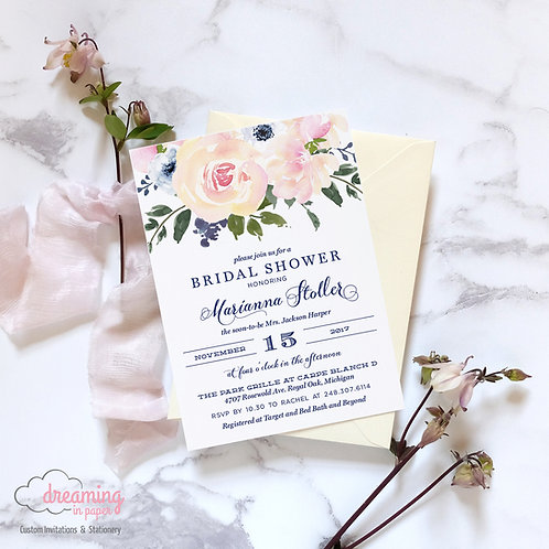 Blush Navy Floral Bridal Shower Invitations