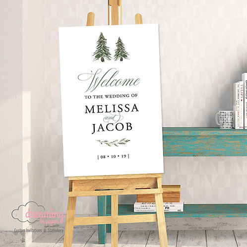 Elegant Forest Pine Tree Wedding Welcome Sign 180