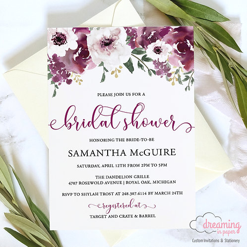 Plum Burgundy Garden Bridal Shower Invitation - 194