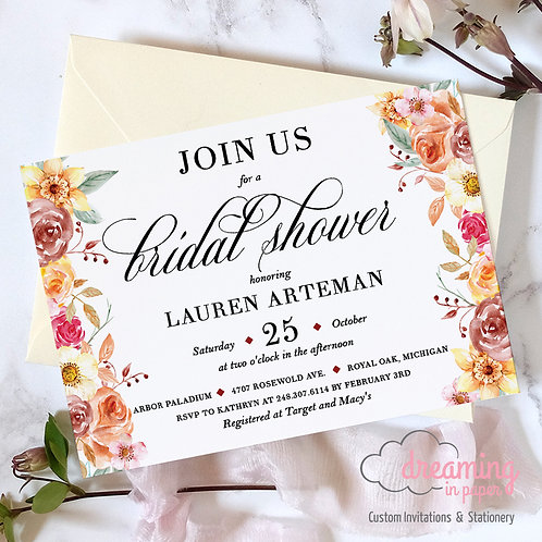 Autumn Fall Floral Bridal Shower Invitation