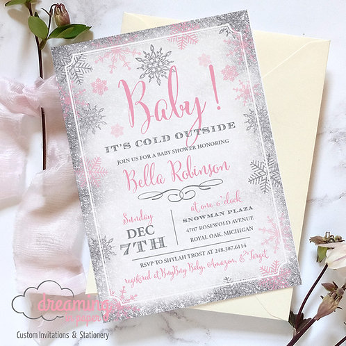 Baby It's Cold Outside Baby Shower Invite - Girl