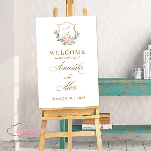 Blush Gold Crest Wedding Welcome Sign