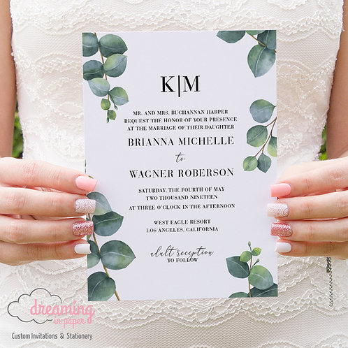 Modern Greenery Eucalyptus Leaves Wedding Invitations