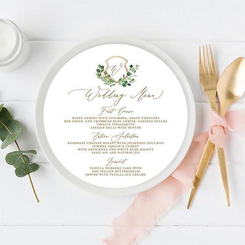 Greenery Gold Crest Circle Wedding Menu Card