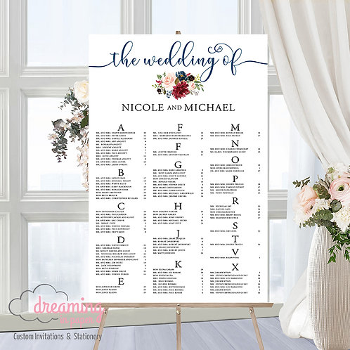 Navy Burgundy Miracle Wedding Seating Chart