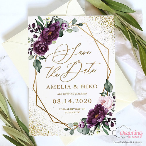 purple floral wedding, gold purple wedding, purple flower save the date, purple geometric wedding