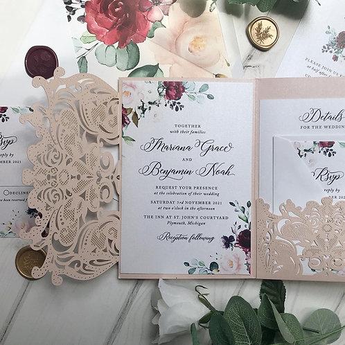 Blush Shimmer Lasercut Pocket Wedding Invitations with Burgundy Floral  251