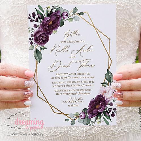 Plum Purple Deep Velvet Gold Geometric Wedding Invitations 284