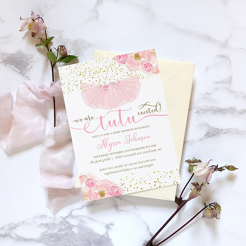 Tutu Excited Pink and Gold Baby Shower Invites