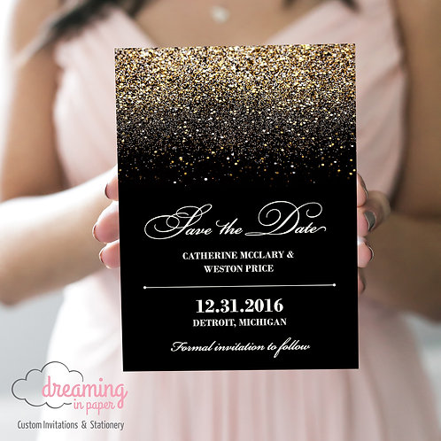 Gold Glitter New Years Eve Save the Dates