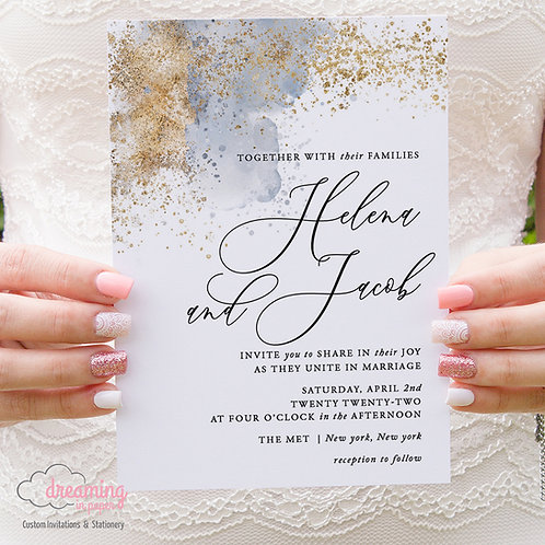 Dusty Blue Watercolor Gold Splatter Wedding Invitations 426