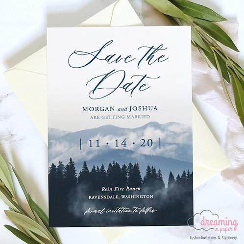 Rustic Dusty Blue Mountain Landscape Save the Dates 323