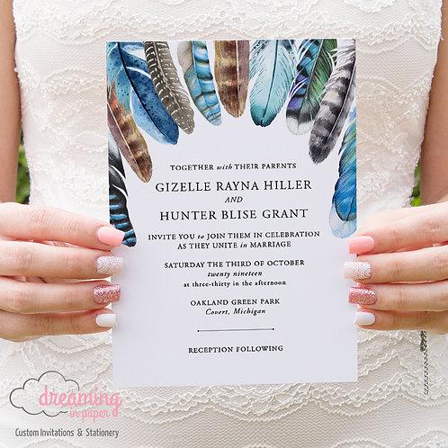 Boho Feathers Tribal Wedding Invitations