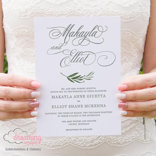 Elegant Script with Greenery Wedding Invitations