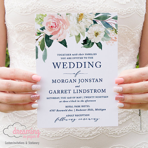 Blush Navy Floral Classic Wedding Invitations
