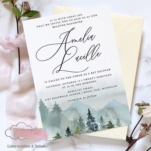 Rustic Watercolor Mountain Bar Bat Mitzvah Invitation 217