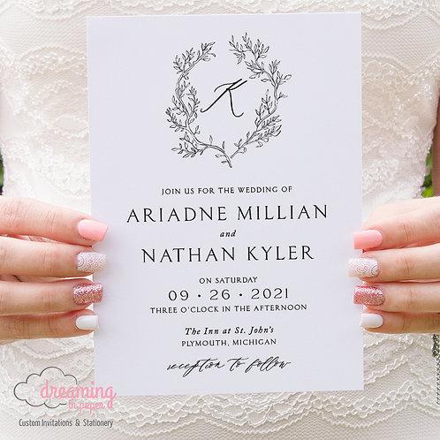Classic Fine Art Leafy Monogram Wedding Invitations 359