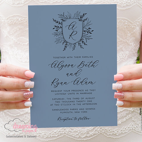 Rustic Wedding Crest Monogram Wedding Invitations 394