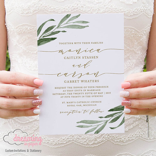 Greenery and Gold Wedding Invitation 211
