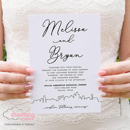 City Skyline Modern Wedding Invitations