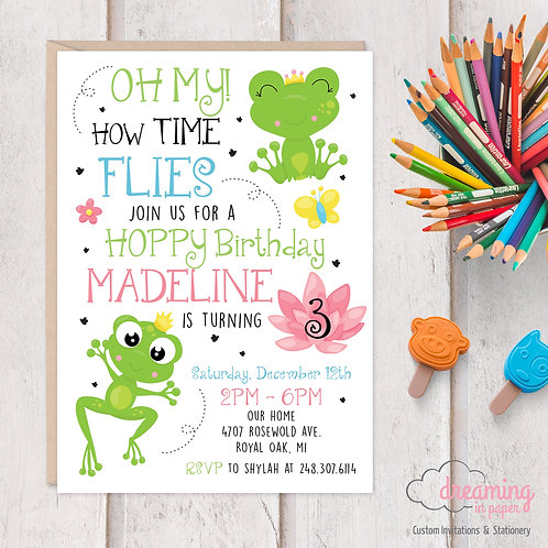Hoppy Birthday Frog Froggy Birthday Invitations