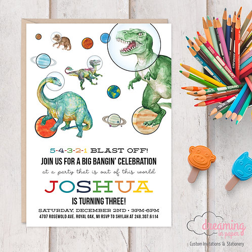 Real Dinosaurs in Space Birthday Invitation
