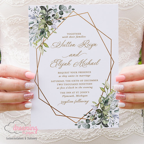 Greenery Gold Geometric Herbal Lisima Wedding Invitations 333