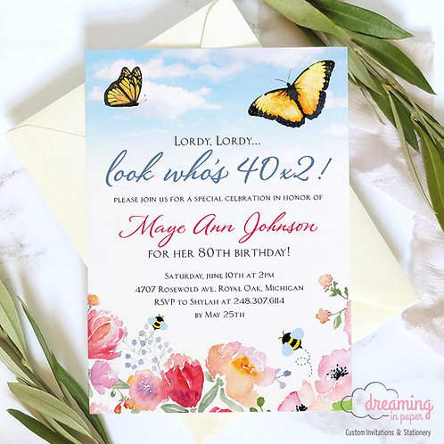 Bees and Butterflies Birthday Invitation