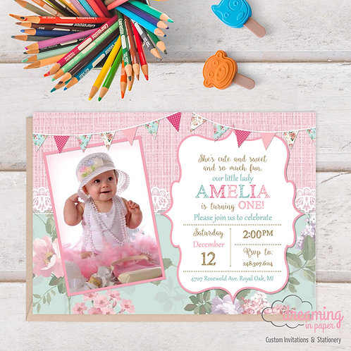 Girly Floral and Lace Birthday Invitation