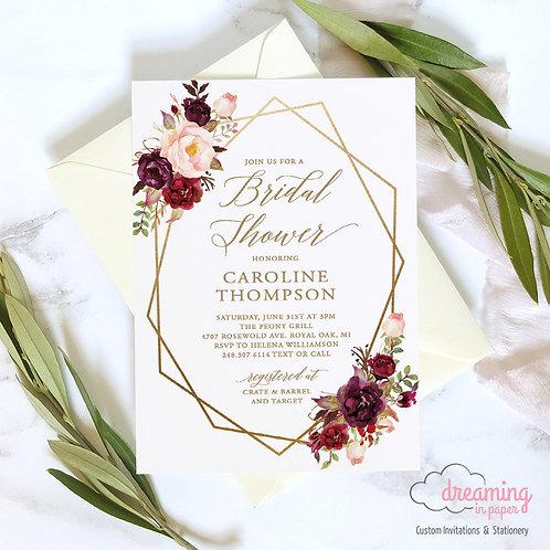 Boho Marsala Floral Geometry Shower Invitation