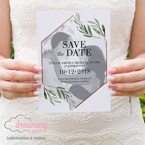 Geometric Hexagon Greenery Photo Save the Dates