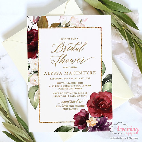 Chic Gold Border Burgundy Blush Shower Invitation