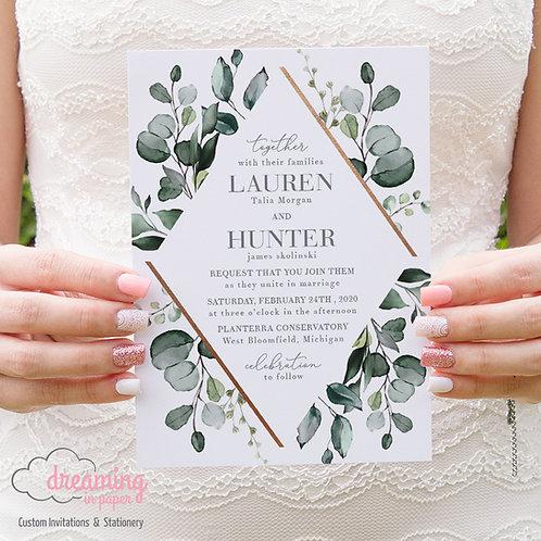 Greenery Eucalyptus Copper Geometric Diamond Wedding Invitations 249