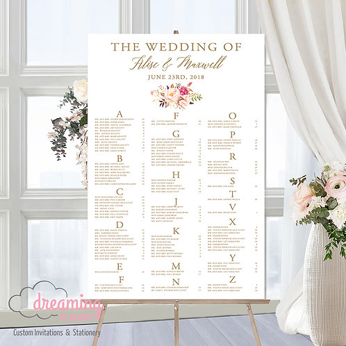 Boho Romantic Pink Floral Seating Chart