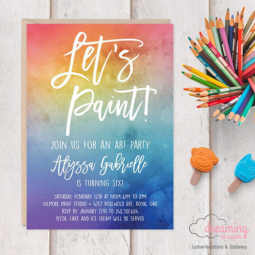 Art Party Painting Birthday Party Invitation