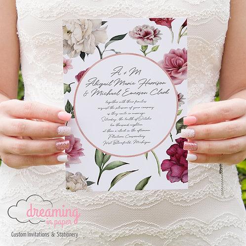 Botanical Floral Rose Gold Circle Wedding Invitation Set