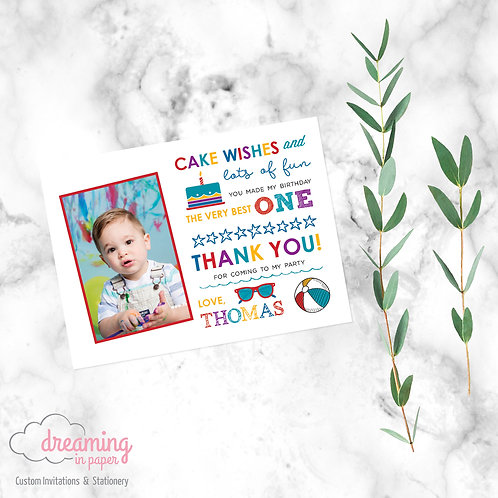 Summer Fun Birthday Thank You Card