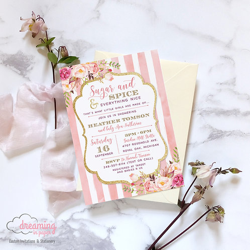 Sugar and Spice and Everything Nice Baby Shower Invitation