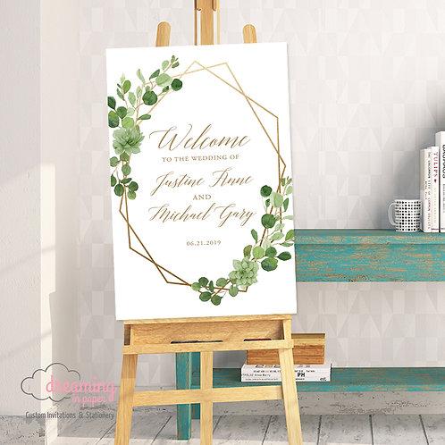 Boho Wild Greenery Wedding Welcome Sign
