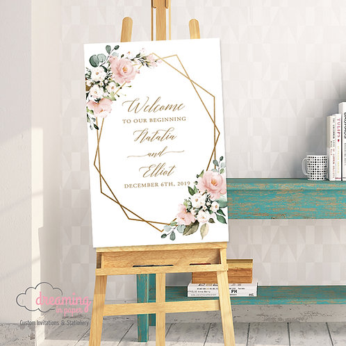 Geometric Mauve Pink Floral Eucalyptus Wedding Welcome Sign 255