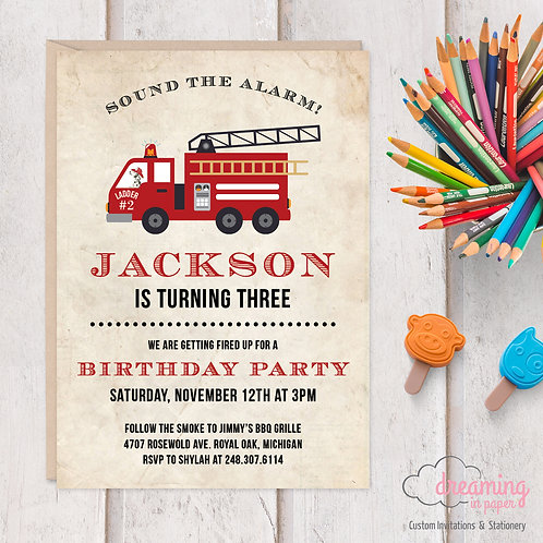 Antique Fire Truck Fire Engine Birthday Invitations