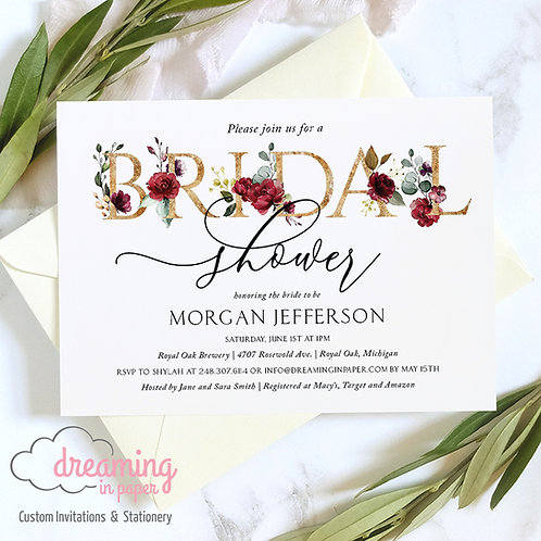 Burgundy Blush Gold Lettering Bridal Shower Invitations