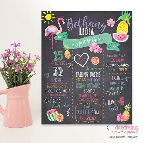 Flamingo Pineapple Chalkboard Birthday Milestone Chart