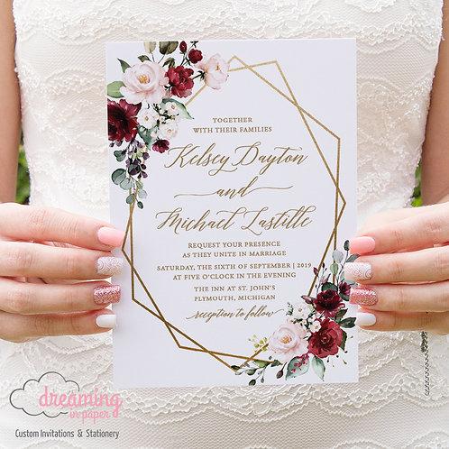 Bursting Burgundy Blush Gold Geometric Wedding Invitations 241